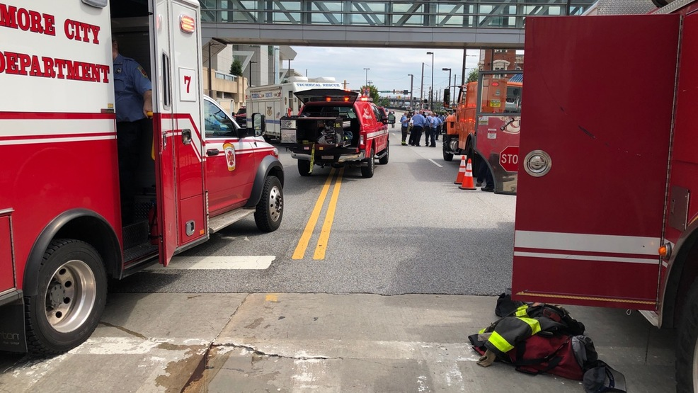 Employee injured after partial street collapse in downtown Baltimore