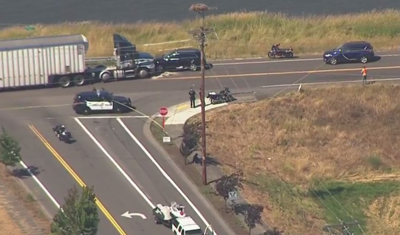 1 killed in rollover crash with semi truck on Marine Drive (Photo: KATU Chopper 2)
