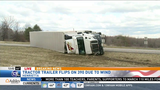 Wind gusts flip tractor trailers in Henrietta, Darien