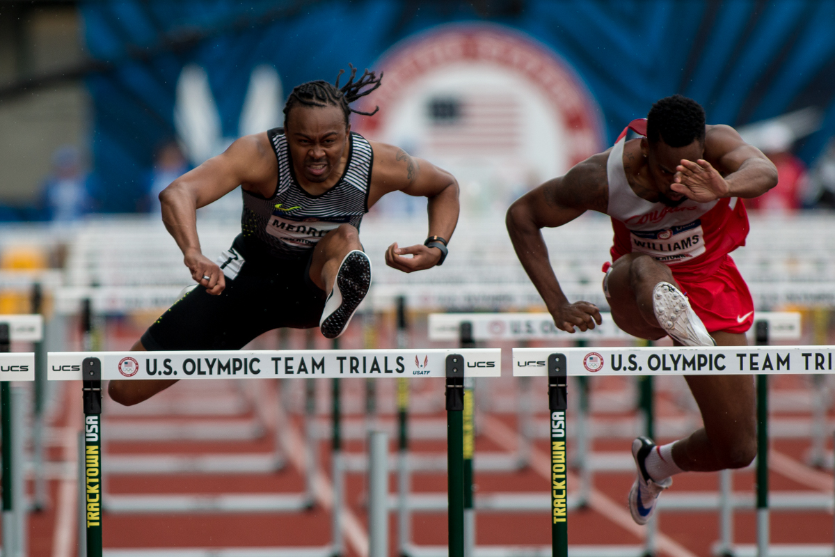 World record holder Aries Merritt clears the last hurdle in the first round of the 110m hurdles. Photo by Dillon Vibes