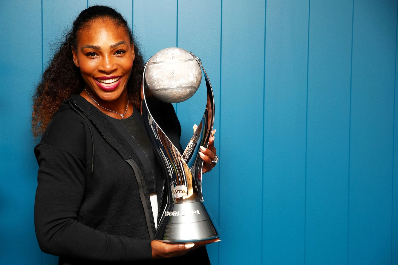 MELBOURNE, AUSTRALIA - JANUARY 28:  (EXCLUSIVE COVERAGE) Serena Williams of the United States poses with the WTA world No.1 trophy after winning the Women's Singles Final against Venus Williams of the United States on day 13 of the 2017 Australian Open at Melbourne Park on January 28, 2017 in Melbourne, Australia.  (Photo by Clive Brunskill/Getty Images)