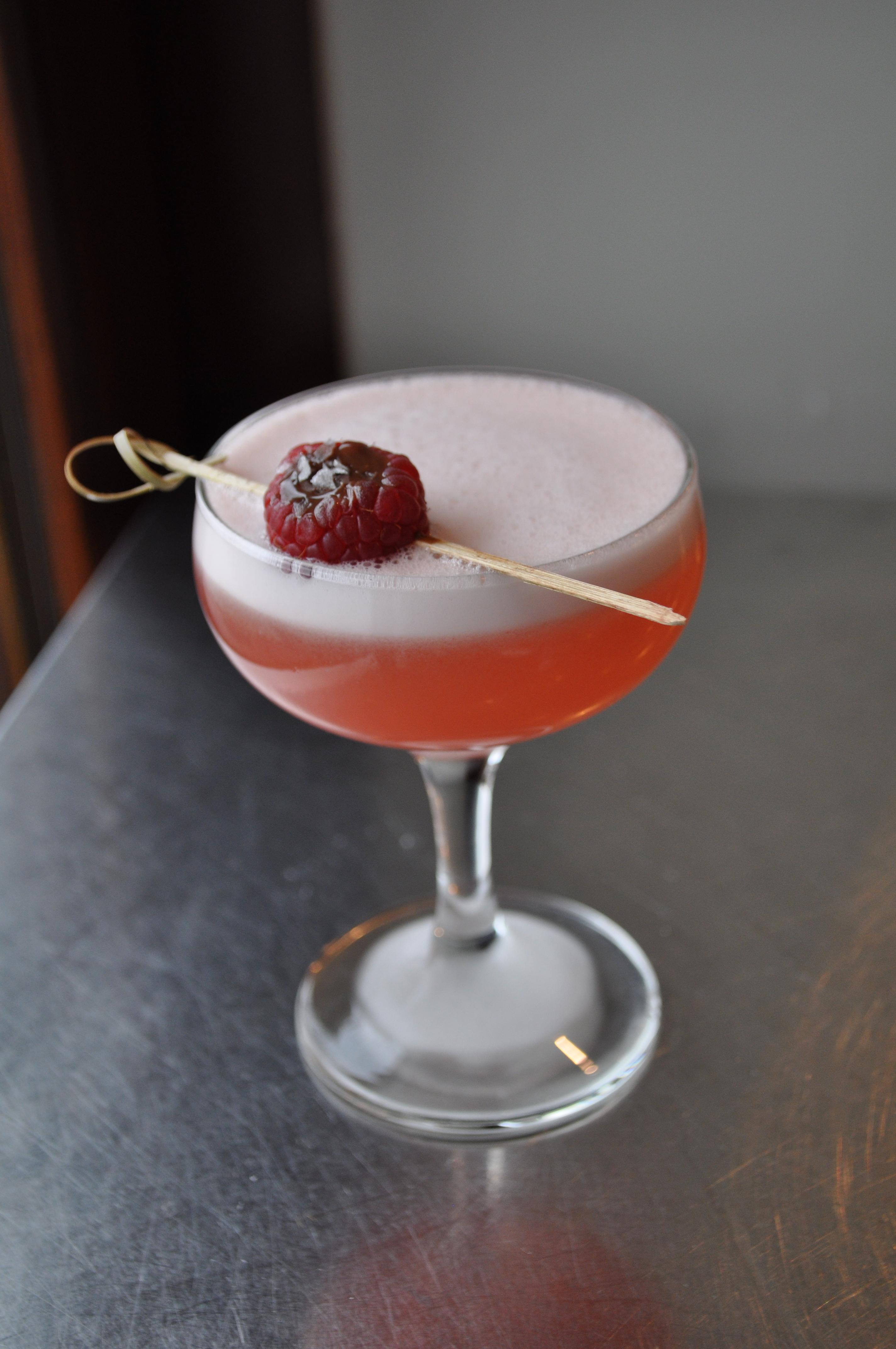 Wicked Games -- Roasted Shishito-Infused Mezcal, Raspberry, Lemon, Egg White, Bitters. On the menu at The Royal. (Image: Courtesy The Royal){ }