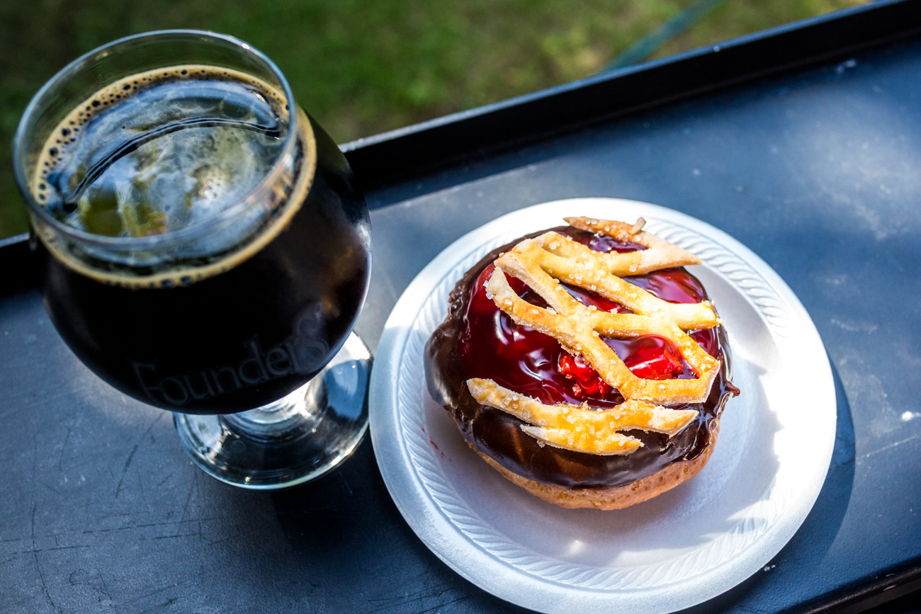 Holtman's open faced yeast donut, dipped in chocolate, filled with cherry pie filling, and topped with a baked lattice pie crust served with a Great Divide Cherry Yeti Imperial Stout / Image: Catherine Viox // Published: 7.19.19