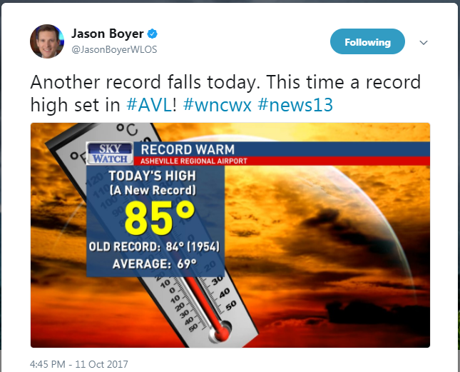 <p>Western North Carolina's see-saw weather continued Wednesday, when more records fell. Asheville set a record for the warmest low (67) and the warmest high temperature (85). (Photo credit: WLOS staff)</p>