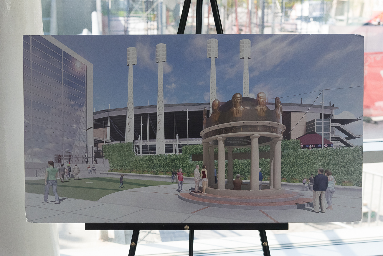An outdoor gazebo, which plans to open May 4th (exactly 150 years to the day the original 1869 team was created), will be accessible to everyone on the street when it's completed. It replaced the rose garden that was previously there.