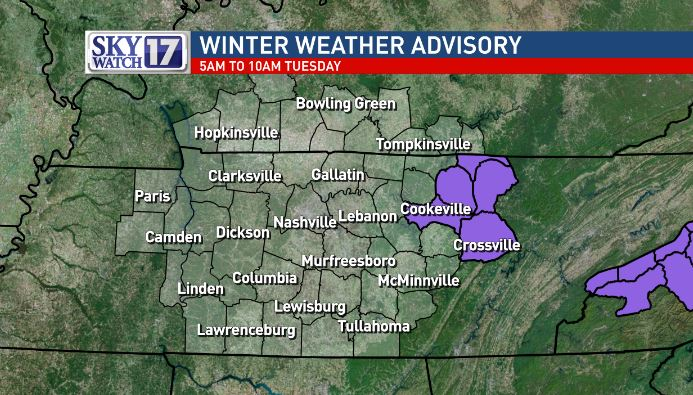 Winter weather advisory issued for Cumberland Plateau, morning flurries possible (Fox 17 News)<p></p>