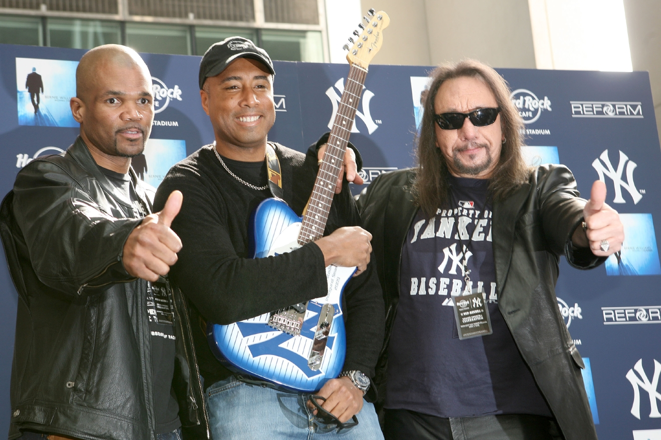 Darryl 'DMC' McDaniels, Bernie Williams and Ace Frehley The opening of the Hard Rock Cafe at the new Yankee Stadium in the Bronx  Where: New York City, United States When: 02 Apr 2009 Credit: WENN