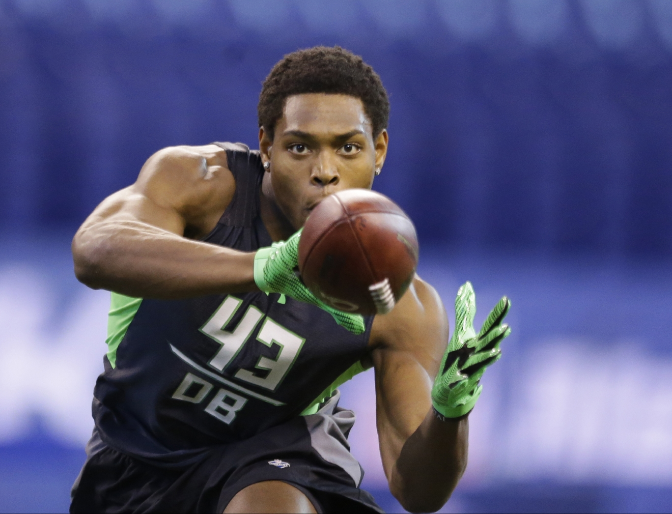 FILE - In this Feb. 29, 2016, file photo, Florida State defensive back Jalen Ramsey runs a drill at the NFL football scouting combine in Indianapolis. With the Rams and Eagles having traded up to secure the top two spots, where they have said they will take quarterbacks, it's San Diego that likely will determine the flow on Thursday night. What direction for the Chargers with the third selection? Perhaps Ramsey, considered one of the best athletes and most NFL-ready players available. (AP Photo/Michael Conroy, File)