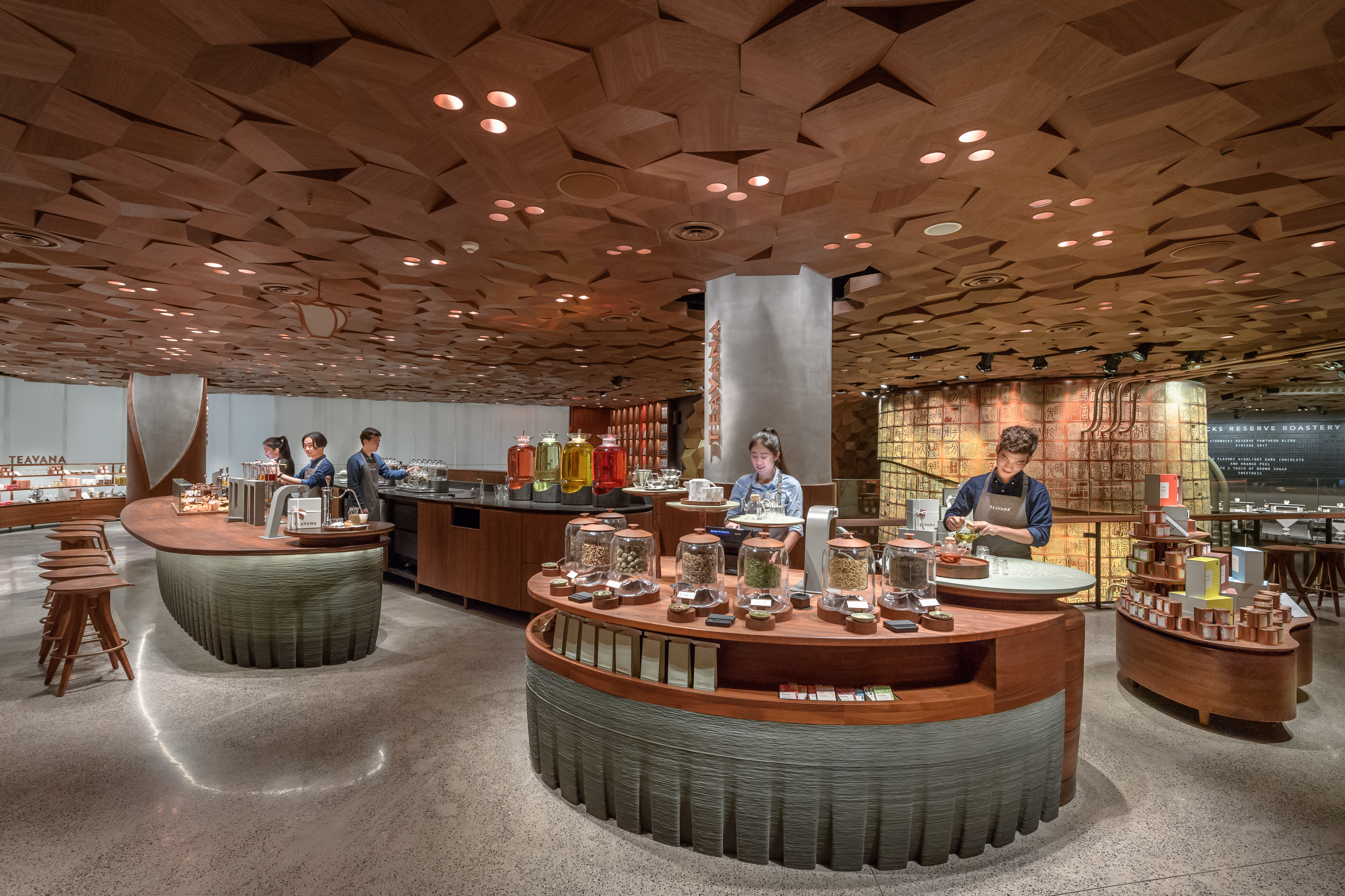 Officially the largest, most beautiful Starbucks® location in the world at nearly 30,000 square feet (2,700 square meters). The Starbucks Reserve Roastery Shanghai is twice the size of the flagship Reserve® Roastery in Seattle and the equivalent of 40 average NYC apartments.{ }(Joshua Trujillo, Starbucks)