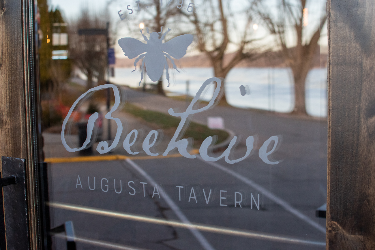 A redesigned logo greets customers entering the historical location on the corner of Main Street and Riverside Drive in Augusta, which is just an hour's drive from Cincinnati. / Image: Matt Groves // Published: 2.23.20