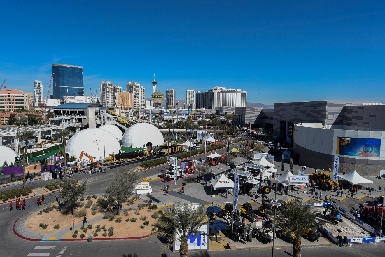 Outdoor exhibits fill the Convention Center parking lots during the first day of the 2017 CONEXPO-CON/AGG convention Tuesday, March 7, 2017, at the Las Vegas Convention Center. [Sam Morris/Las Vegas News Bureau]