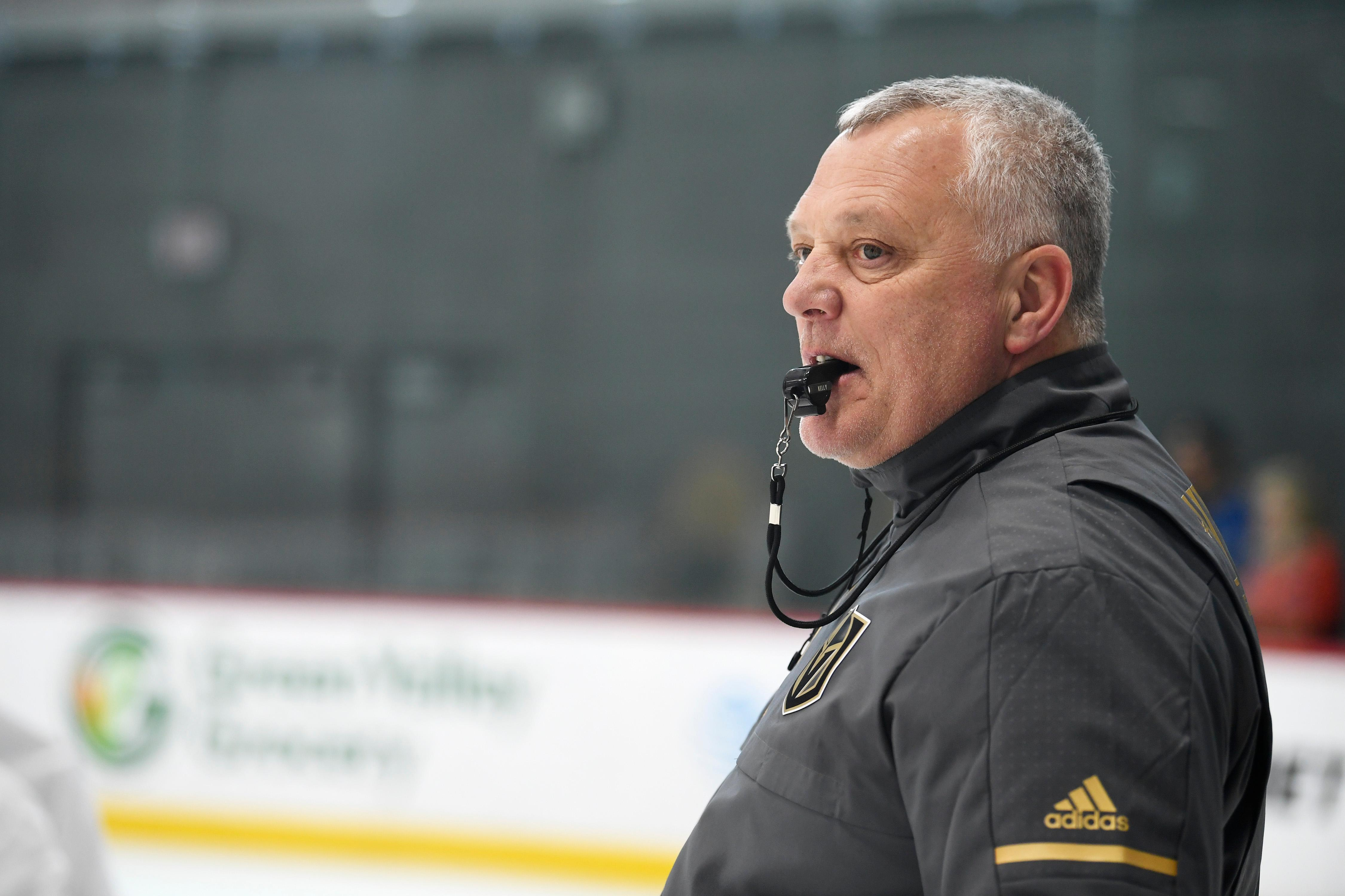 Vegas Golden Knights head coach Gerard Gallant watches his players during the Vegas Golden Knights practice Friday, April 20, 2018, at City National Arena in Las Vegas. CREDIT: Sam Morris/Las Vegas News Bureau