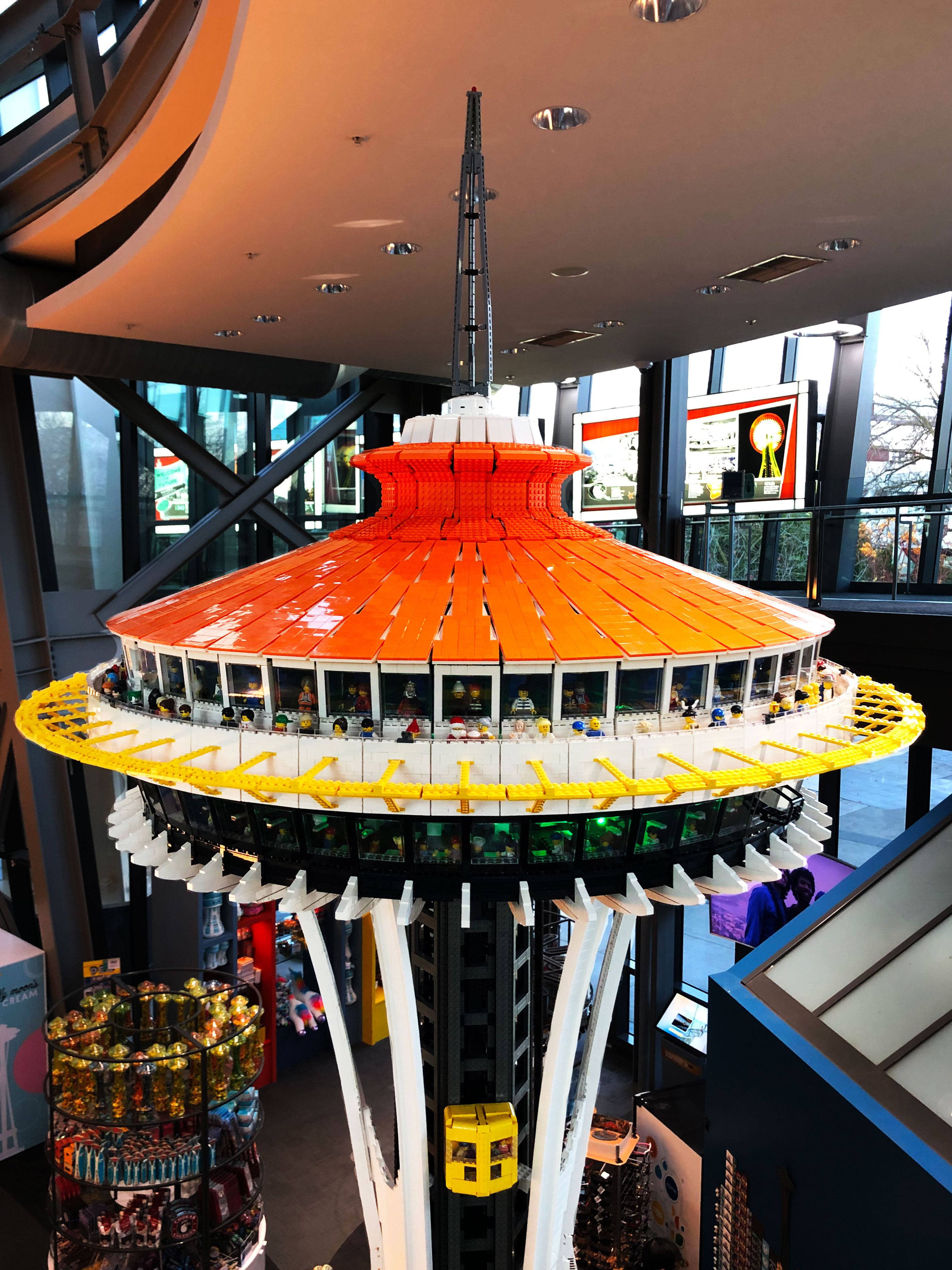 It's taken 15 years of design planning and 55,000 LEGO pieces, but it's finally here... A 14-foot, 150 pound LEGO replica of the Space Needle - at the Space Needle! (Image courtesy of The Space Needle).