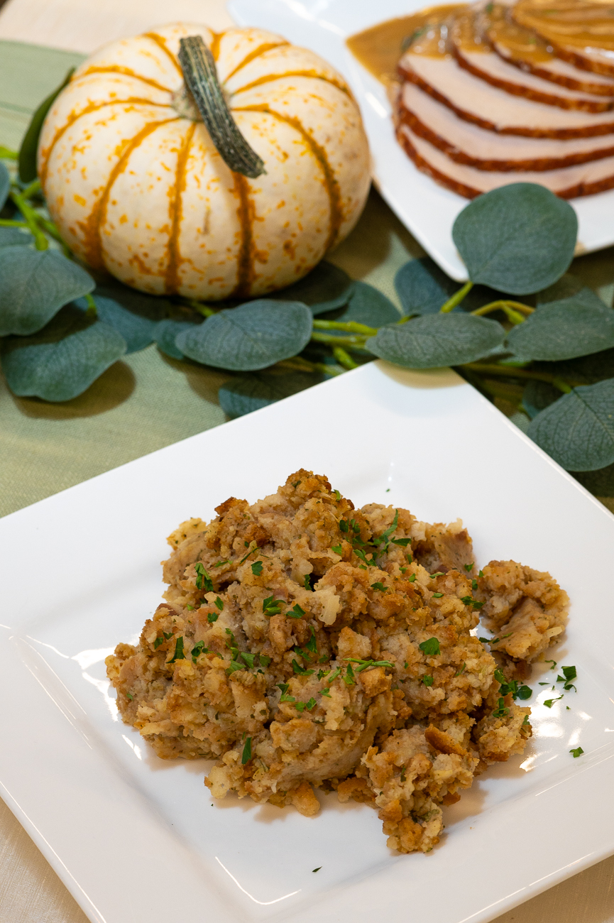 The Take and Bake Holiday Dinner. Pictured: traditional holiday stuffing. / Image: Phil Armstrong, Cincinnati Refined // Published: 11.6.20
