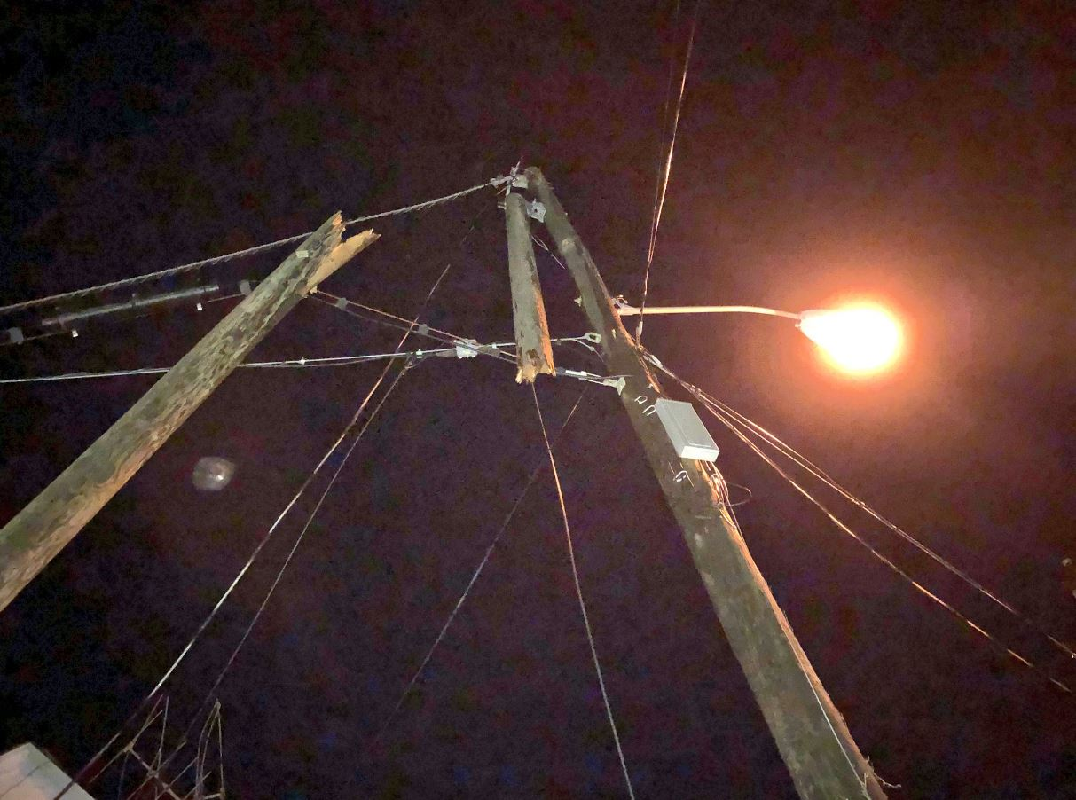 A power pole snapped during a thunderstorm Wednesday morning in Mason County.{ } (WCHS/WVAH)