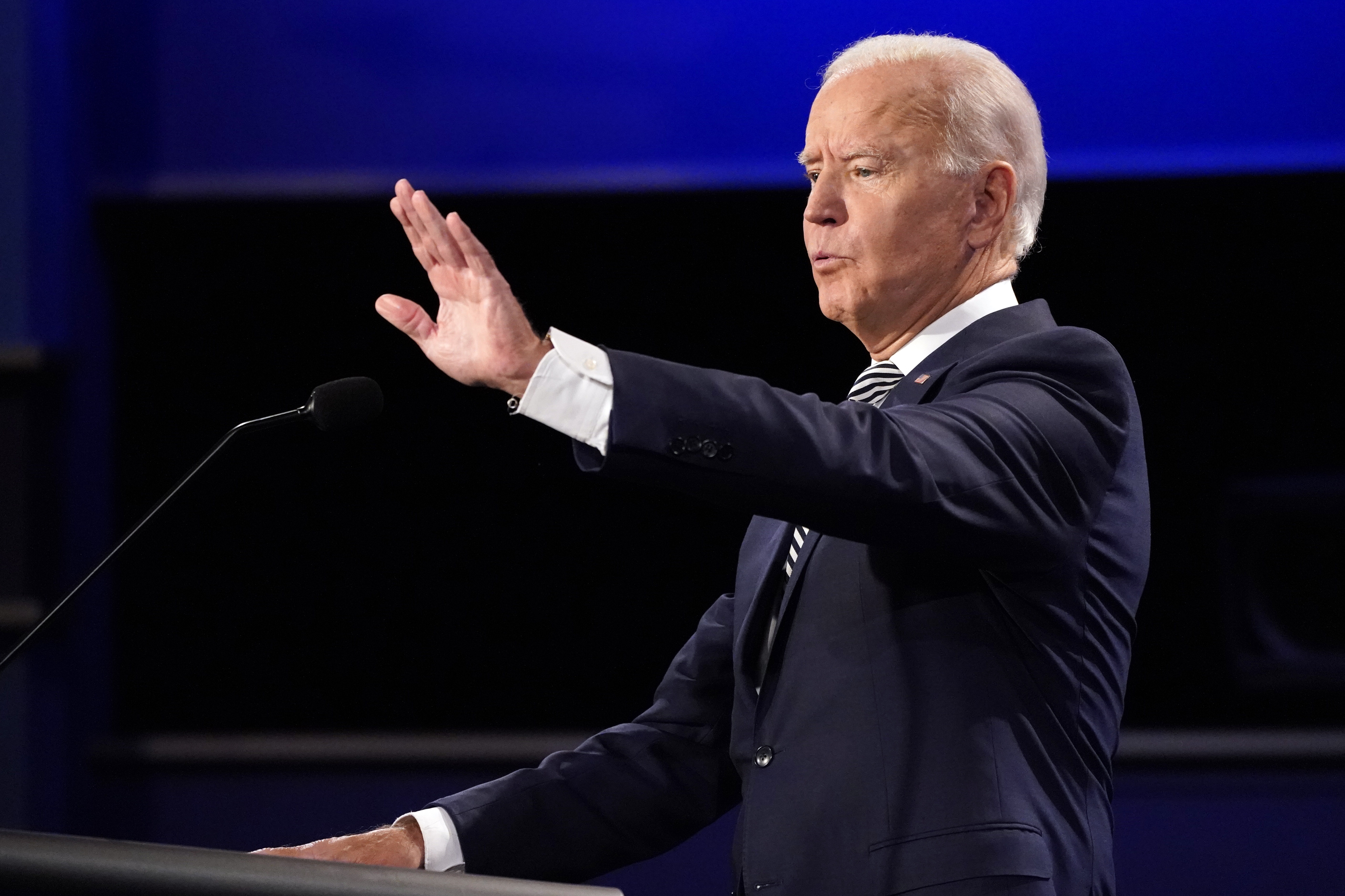 Democratic presidential candidate former Vice President Joe Biden gestures during the first presidential debate Tuesday, Sept. 29, 2020, at Case Western University and Cleveland Clinic, in Cleveland, Ohio. (AP Photo/Julio Cortez)