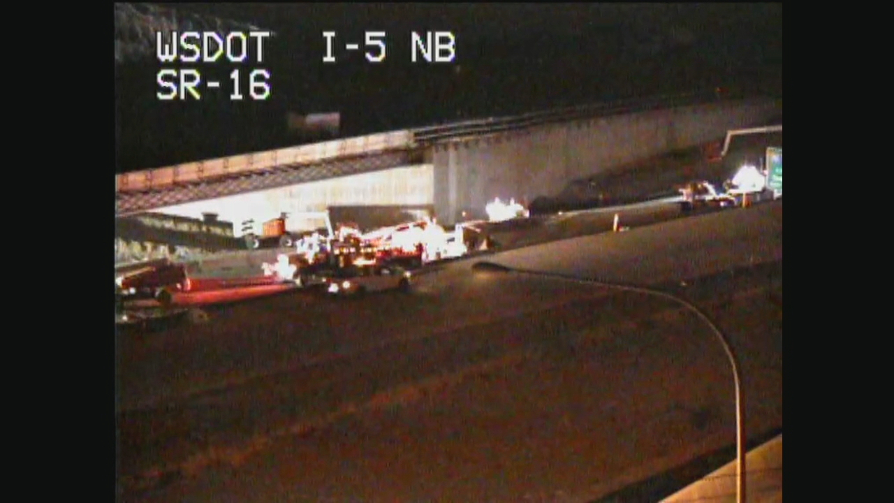 The State Patrol believes faulty brakes may have caused a semi truck to crash on the State Route 16 interchange with northbound Interstate 5 in Tacoma Tuesday night. (Photo: WSDOT)<p></p>