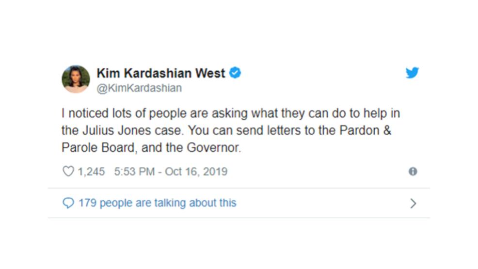 Kim Kardashian West tweets about Julius Jones