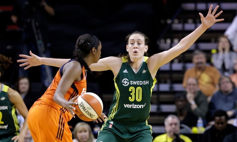 FILE - In this May 28, 2016, file photo, Seattle Storms' Breanna Stewart (30) defends against the Connecticut Sun in a WNBA basketball game in Seattle. Former UConn star Breanna Stewart returns to Connecticut on Friday, June 10, 2016,  for the first time as a WNBA player, dealing with something she had little experience with while in college Â? losing. (AP Photo/Elaine Thompson, File)