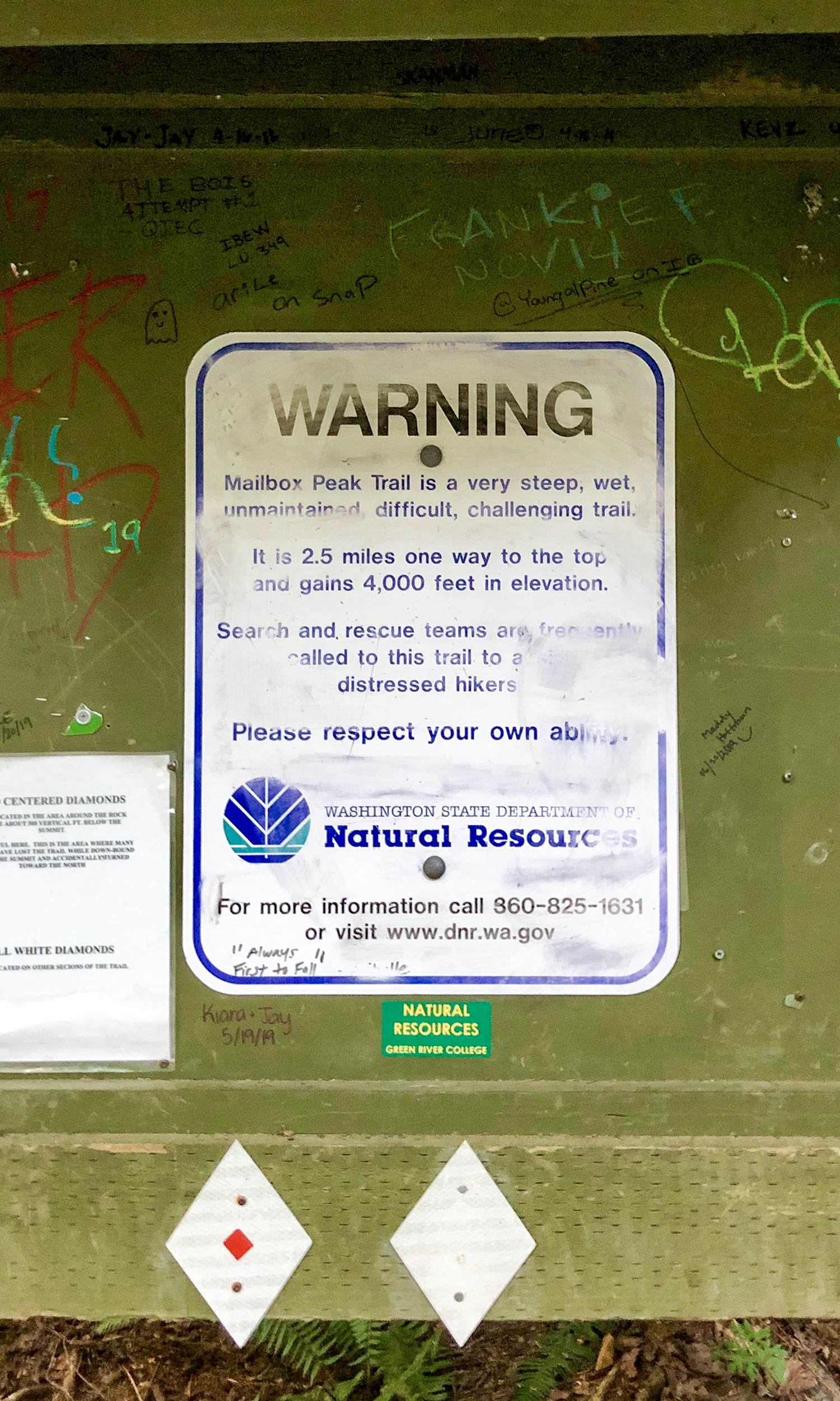 <p>The Washington State Department of Natural Resources warning sign can be a bit ominous, but completely necessary as the trail is rated difficult with steep inclines and frequent switchbacks. (Image:{&nbsp;}Rachael A. Jones / Seattle Refined){&nbsp;}</p>