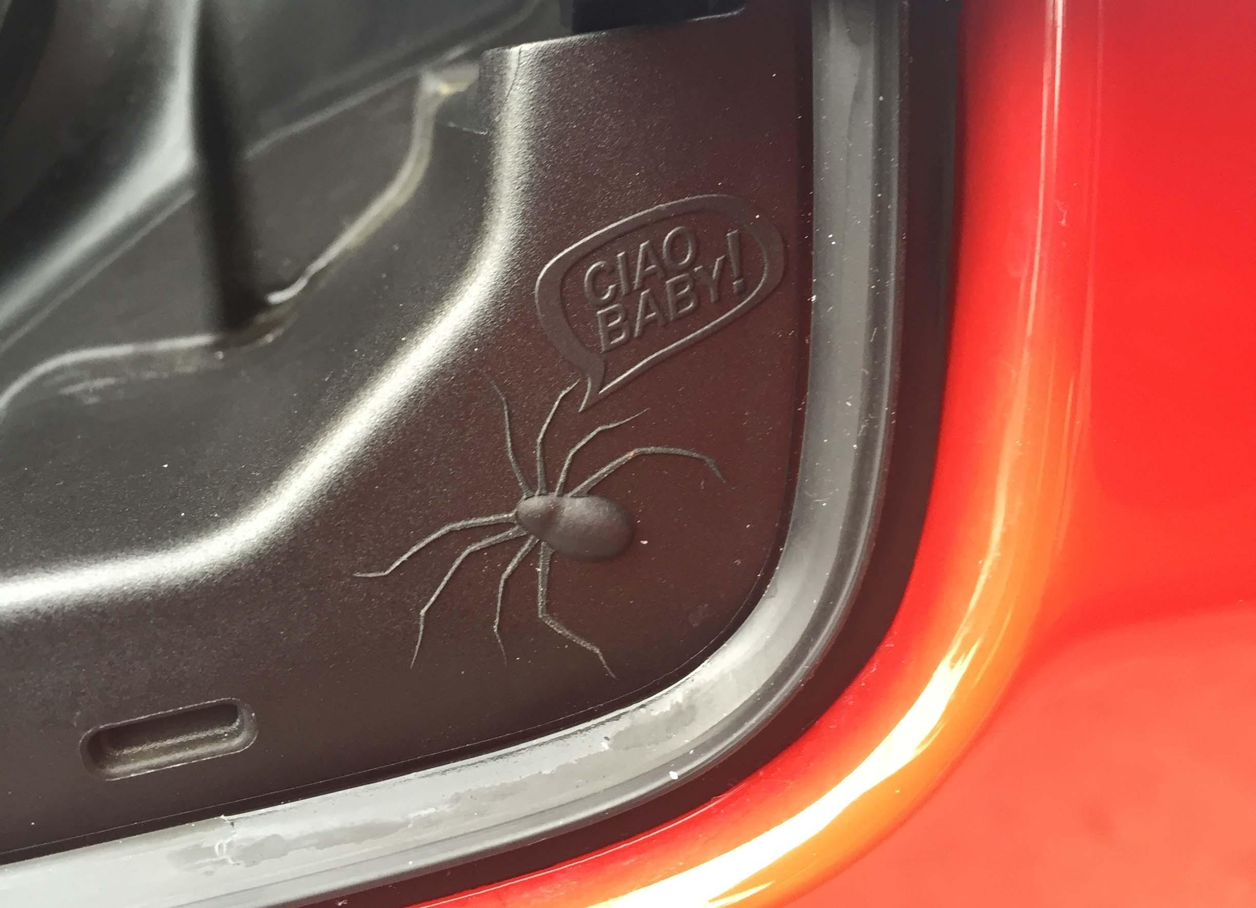 Spider near the gas cap Easter egg / Photo by Jill Ciminillo