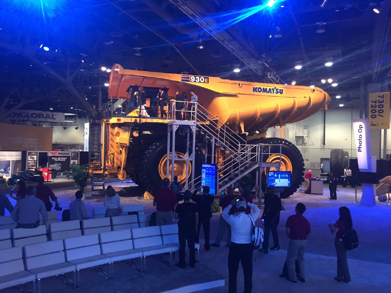 The giant mining truck stands more than two stories tall and is on display at the expo. 9/27/16 (Travis / Marshall)