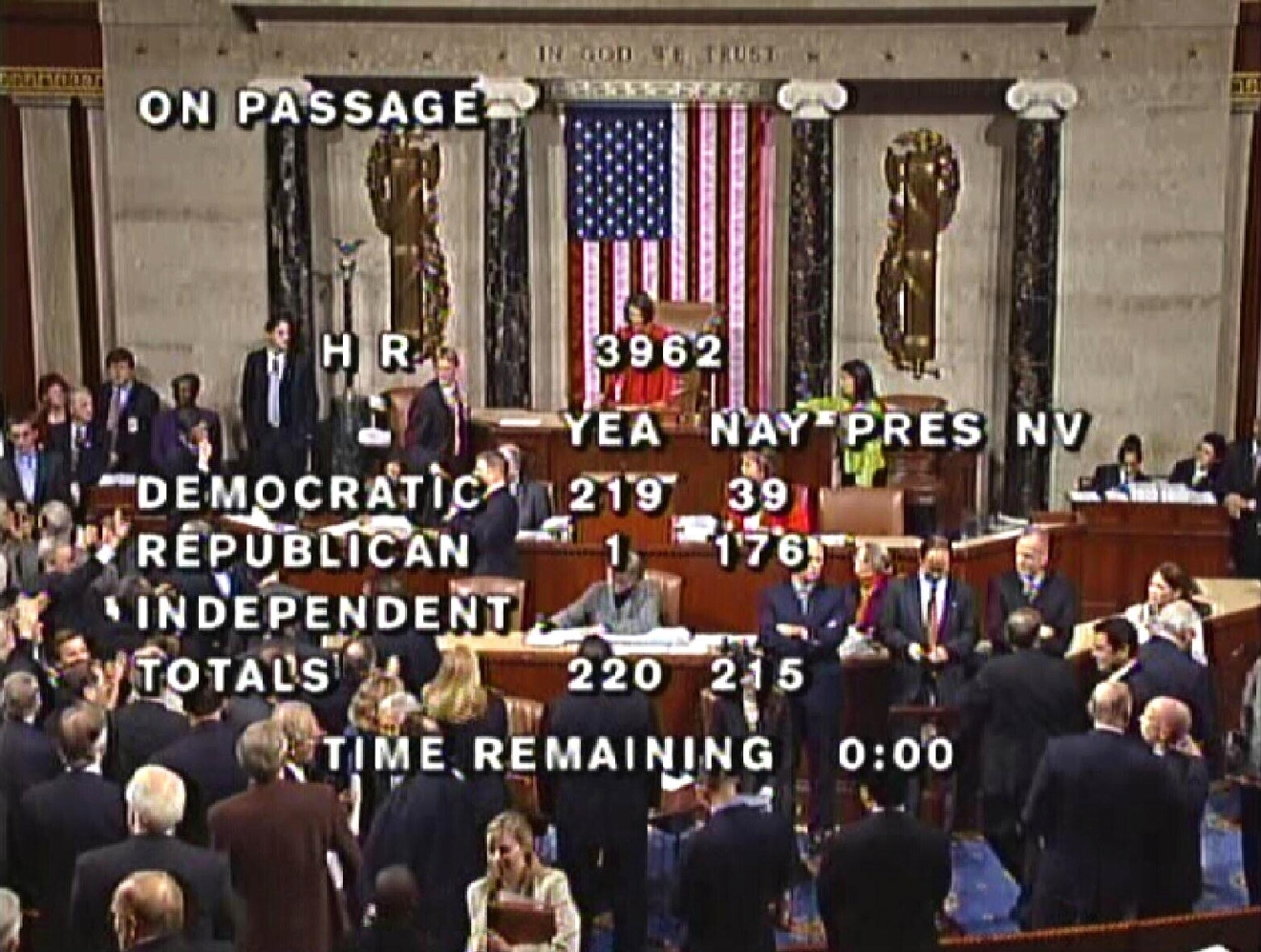 FILE - This Saturday, Nov. 7, 2009 image made from video shows the final vote for health care bill 3962 in the House Chamber of the U.S. Capitol in Washington. After years of debating health care politics and policies, Americans remain divided over the Affordable Care Act, which was passed without a single Republican vote when Democrats still controlled both houses of Congress. (AP Photo/Pool)