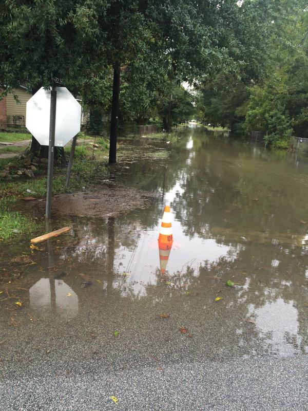 Reid Street in Darlington was closed due to flooding October 3rd. Photo: Jordan Schuman