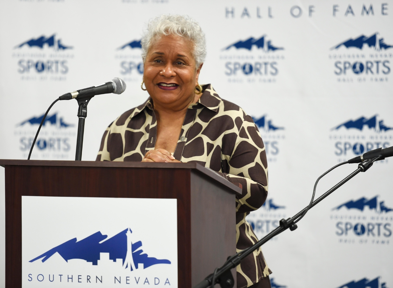 Connie Curtis speaks about her husband Overton Curtis, who is a posthumous inductee into the Southern Nevada Sports Hall of Fame, during a news conference Tuesday, March 14, 2017. [Morris/Las Vegas News Bureau]