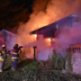 Crews battle house fire in La Porte County