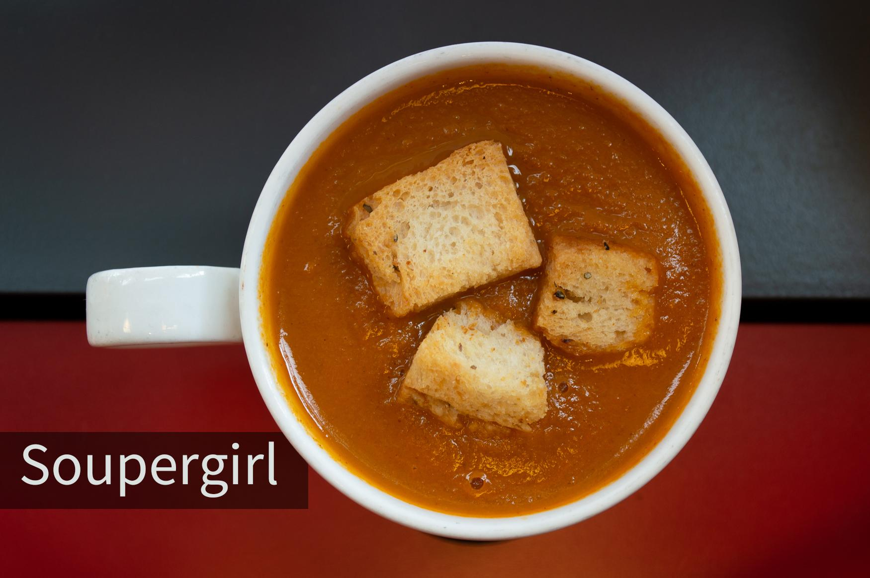 Soupergirl is a vegan soup restaurant in Takoma Park that serves soups, salads and sandwiches. There are four or five rotating soups everyday, based on which veggies are in season. You can also take a bottled gazpacho to go. (David Fisher/DC Refined)