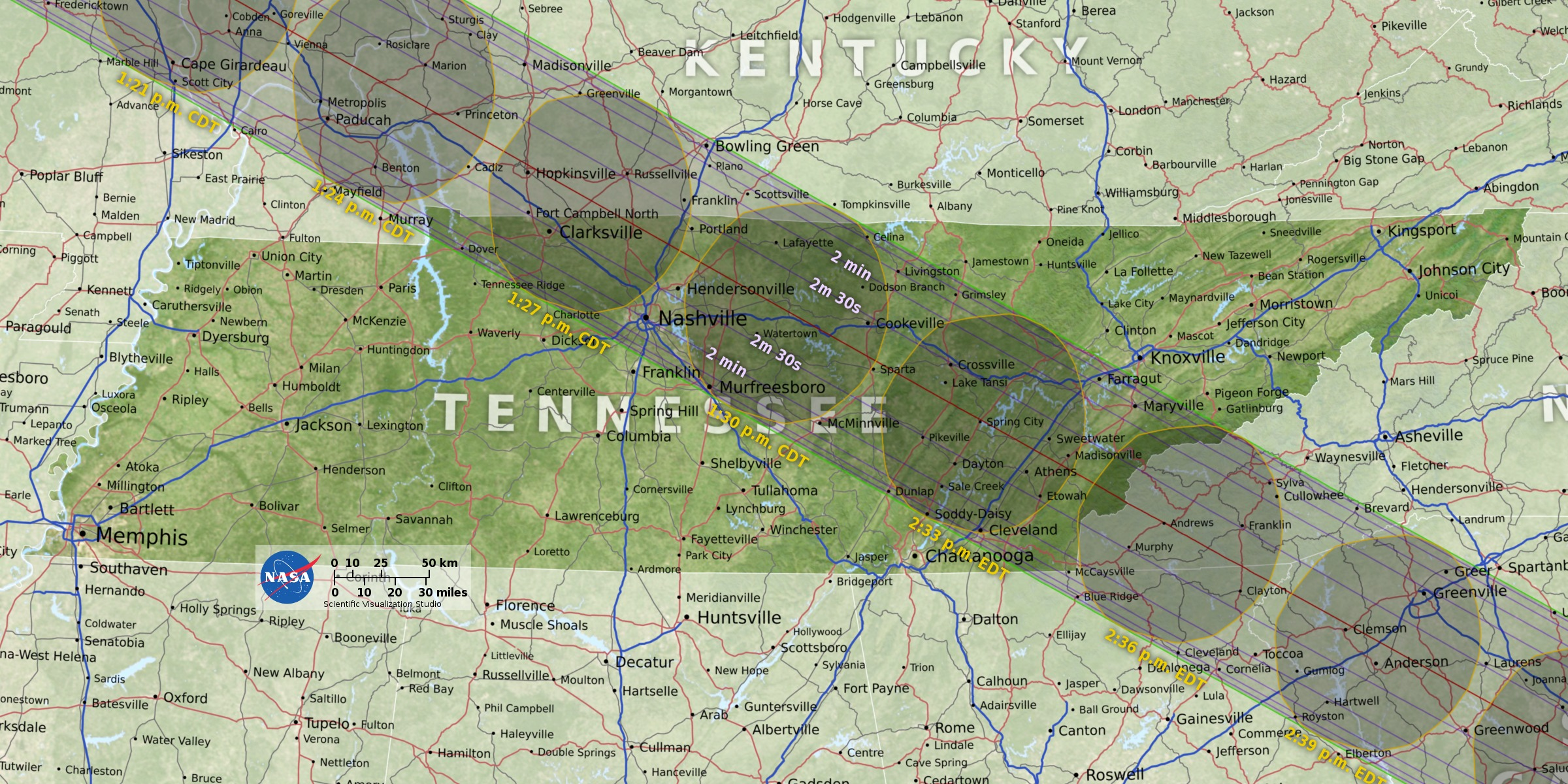 Chattanooga is barely outside of the solar eclipse's totality path, as shown on this map. (Image: Tennessee Aquarium)