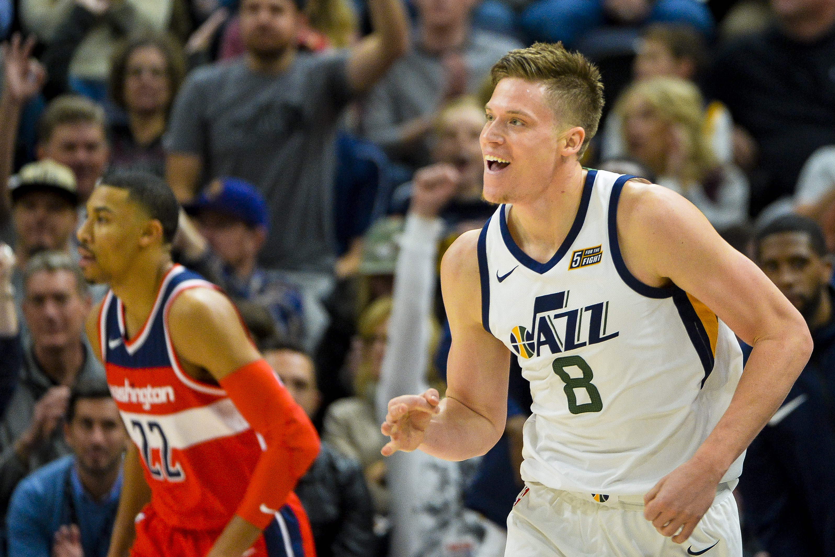 Utah Jazz forward Jonas Jerebko (8) celebrates after scoring against the Washington Wizards in the first half during of an NBA basketball game Monday, Dec. 4, 2017, in Salt Lake City. (AP Photo/Alex Goodlett)