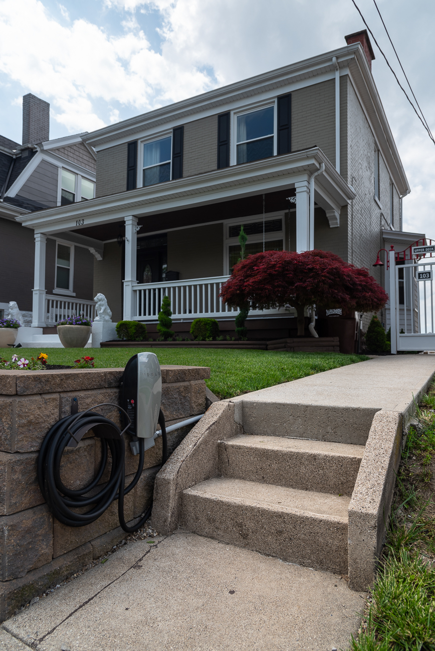 His house is likely the only one on his street with a Tesla charger. / Image: Phil Armstrong, Cincinnati Refined // Published: 5.31.19