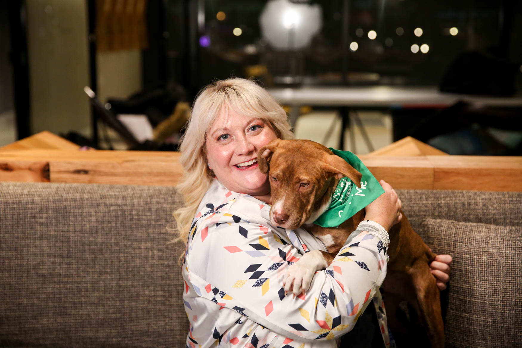 Meet Uncle and Tennille, a 5-month-old Terrier mix and a 38-year-old human respectively.{ } Photo location: Moxy Washington, D.C. Downtown (Image: Amanda Andrade-Rhoades/ DC Refined)