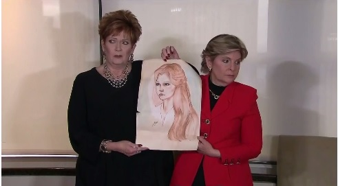 In a press conference Monday afternoon, Attorney Gloria Allred called for a congressional hearing by the Senate Judiciary Committee, where she said her client would testify under oath about an alleged sexual assault. She holds a portrait up of Beverly Nelson, who was 16 at the time of the alleged incident. (CNN Newsource)