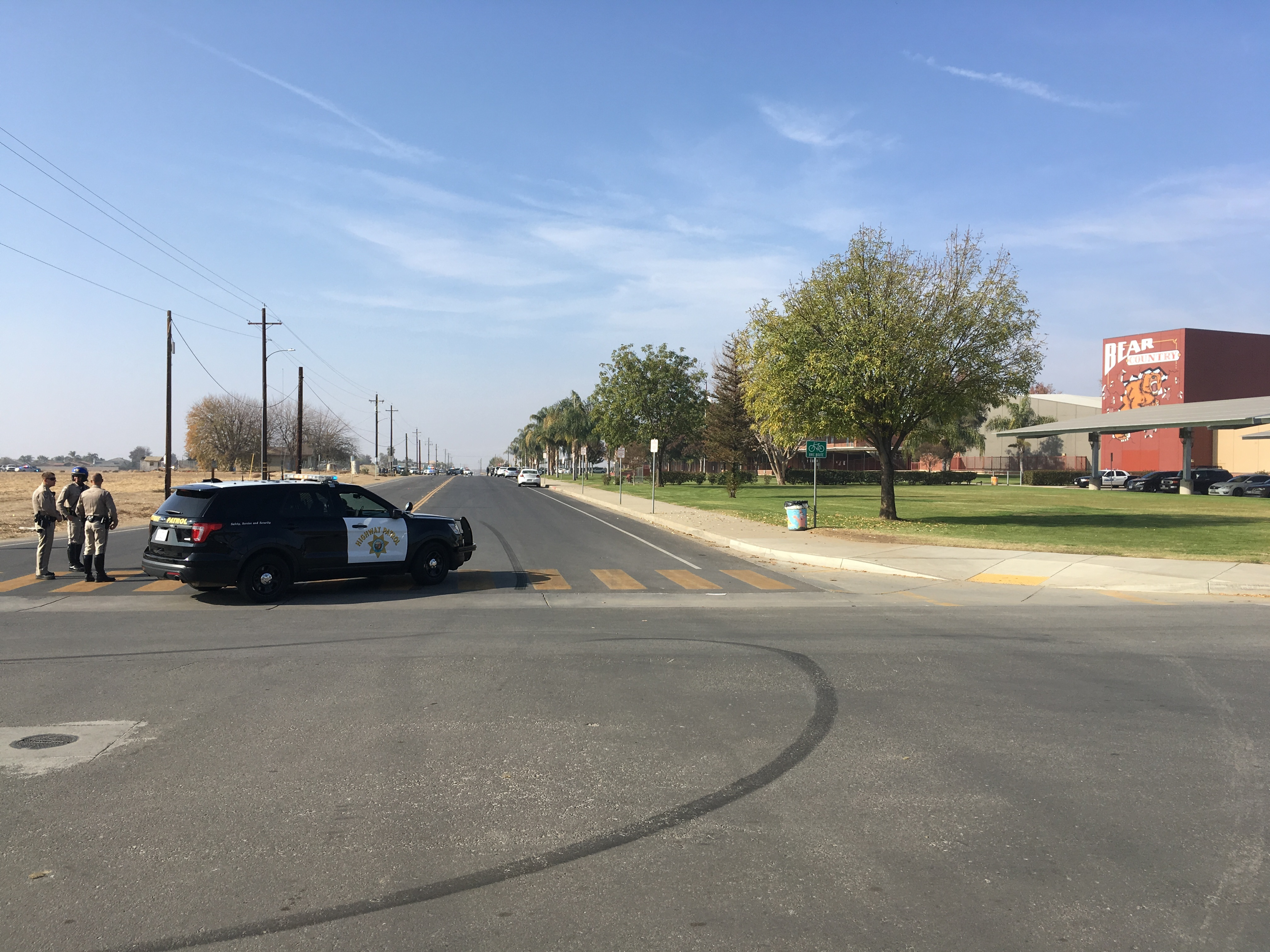 Arvin High School is on lockdown Monday morning, Dec. 11, 2017, in Arvin, Calif., on a report of a person with a gun. (KBAK/KBFX photo/Alberto Garcia)