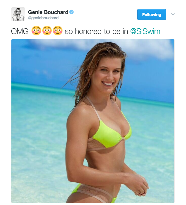Genie Bouchard tweets a photo from her Sports Illustrated Swimsuit shoot.