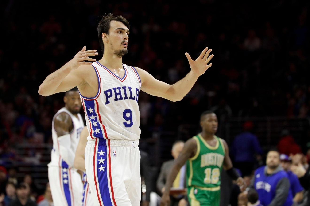 Philadelphia 76ers' Dario Saric celebrates after the Boston Celtics called a timeout during the second half of an NBA basketball game, Sunday, March 19, 2017, in Philadelphia. (AP Photo/Matt Slocum)