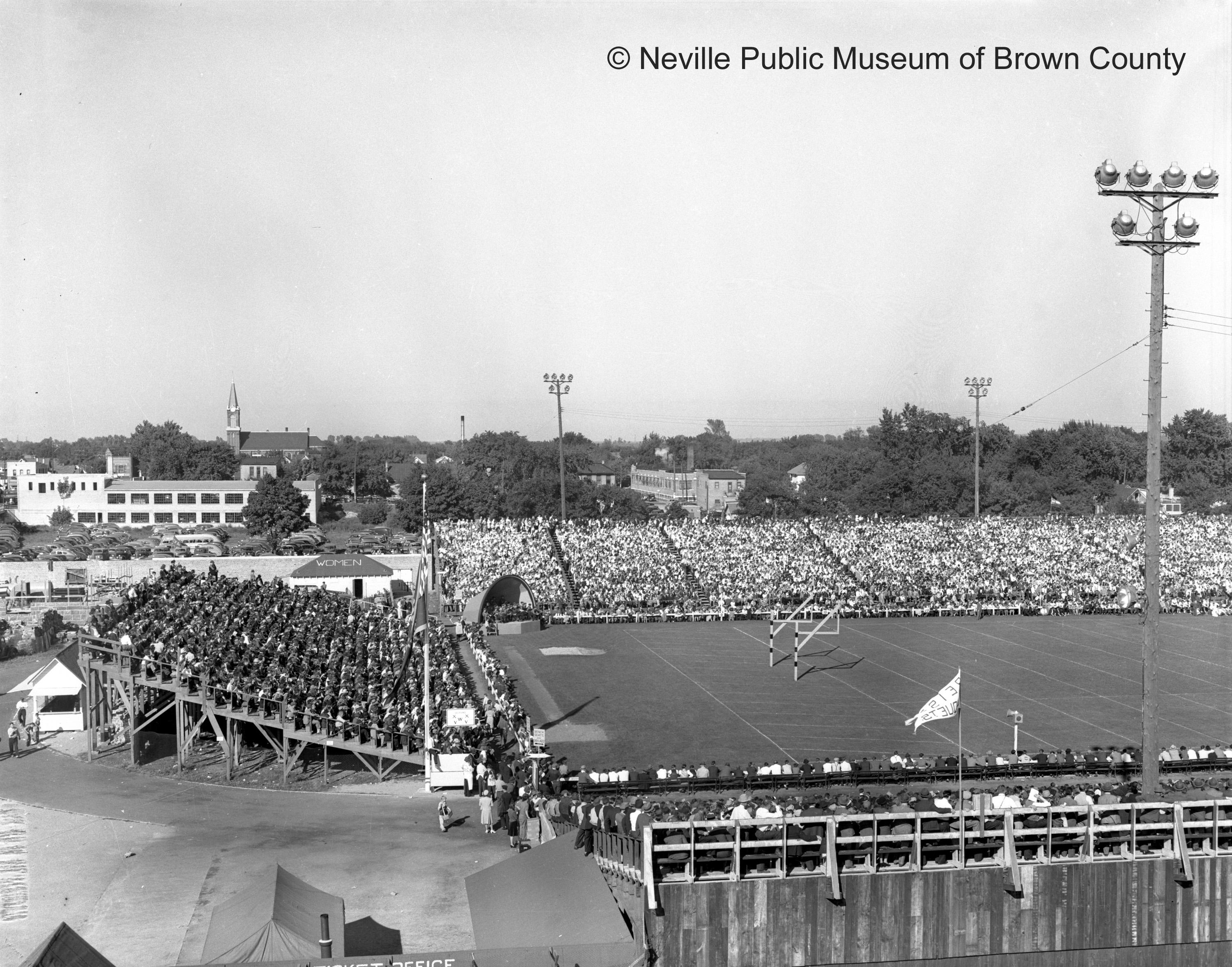 Later photos of City Stadium show it with bleacher seating in the end zone. The stadium was originally built to seat 6,000 but grew to 25,000 at its peak. (Courtesy: Neville Public Museum of Brown County)