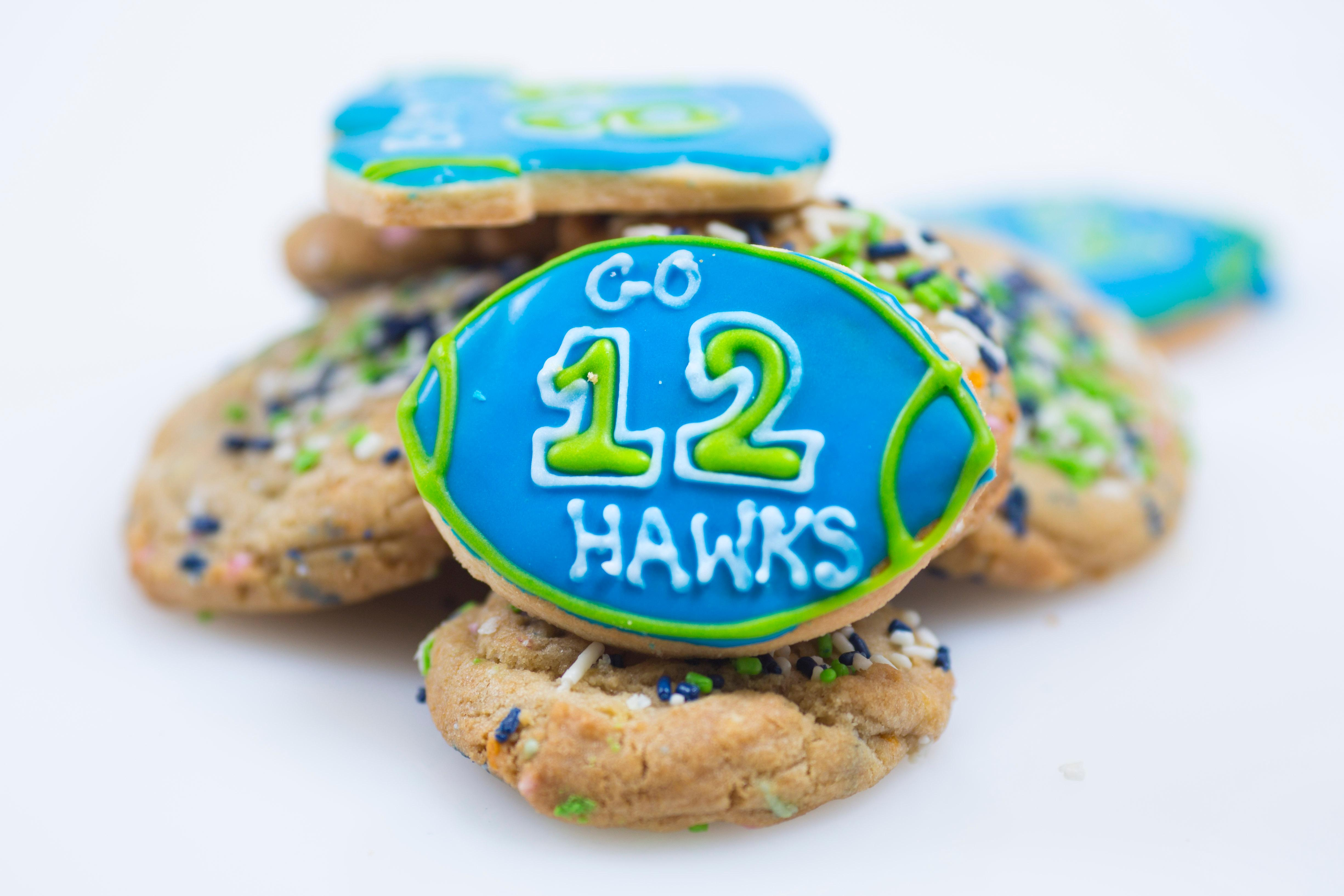 If cupcakes and cheesecake aren't exactly your thing, be sure to check out Hello Robin Cookies. Each season they make Seahawks-themed frosted sugar cookies, as well as blue and green, Seahawks Birthday Cake Cookies. This small cookie shop is located at: 522 19th Ave E, Seattle. (Sy Bean / Seattle Refined)