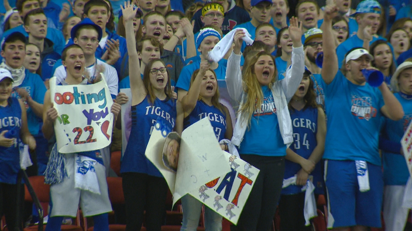 Wrightstown fans cheer for their team during the March 9, 2017 game. (WLUK/David Duchan)