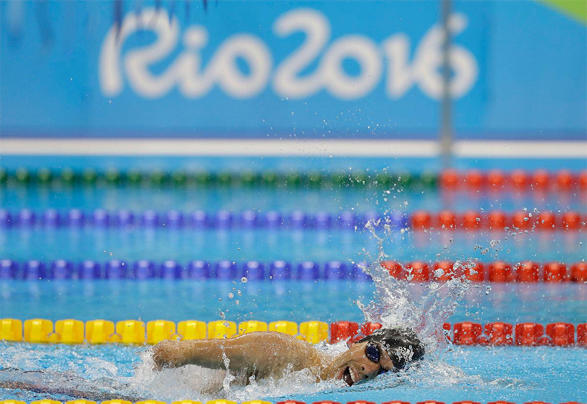 Brazil's Daniel Dias competes in the men's 200-meter freestyle S5 final swimming competition at the Rio 2016 Paralympic Games in Rio de Janeiro, Brazil, Thursday Sept. 8, 2016.(AP Photo/Leo Correa)