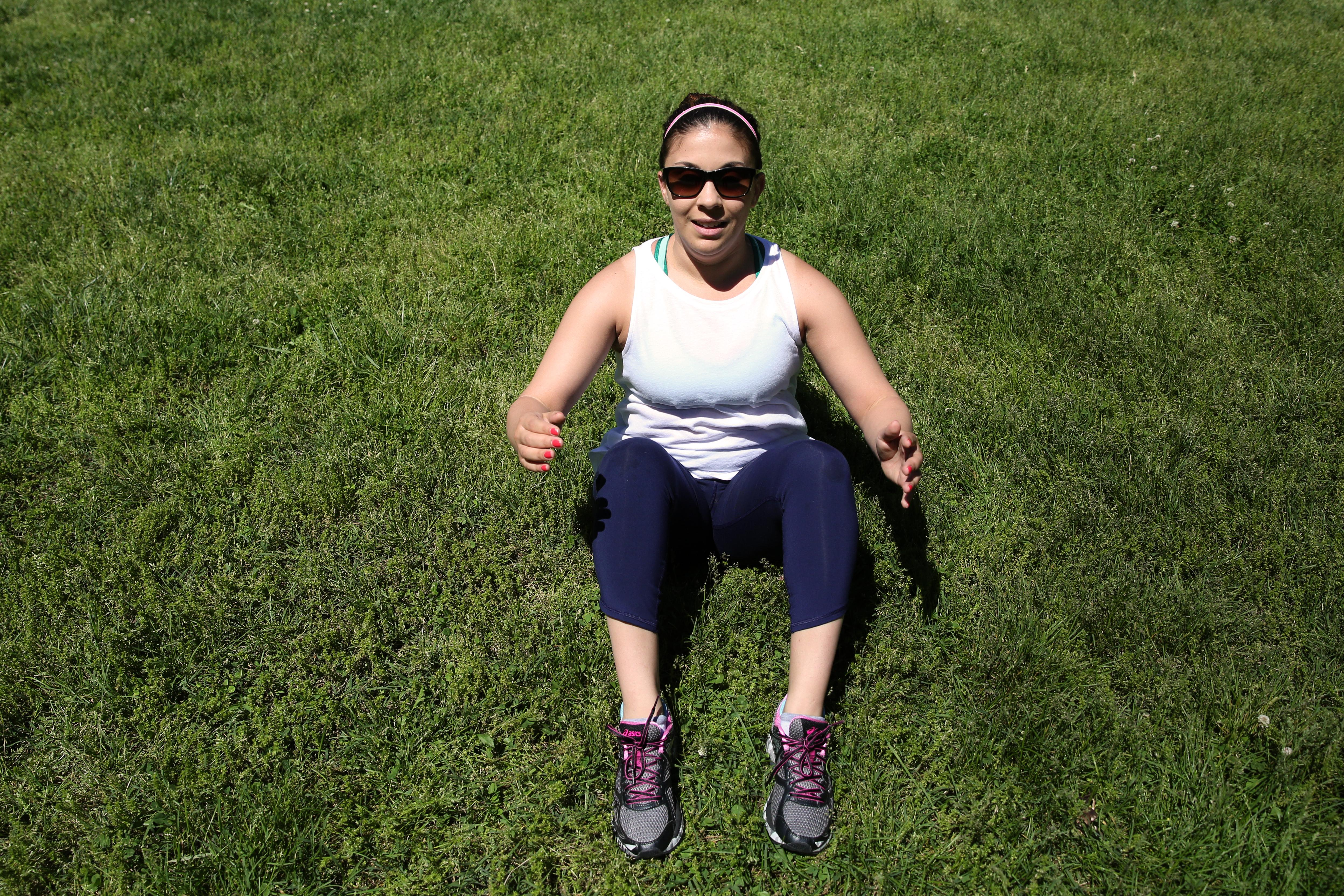 EXERCISE: Sit ups / SETS: 5 sets of 20 / (Amanda Andrade-Rhoades/DC Refined)