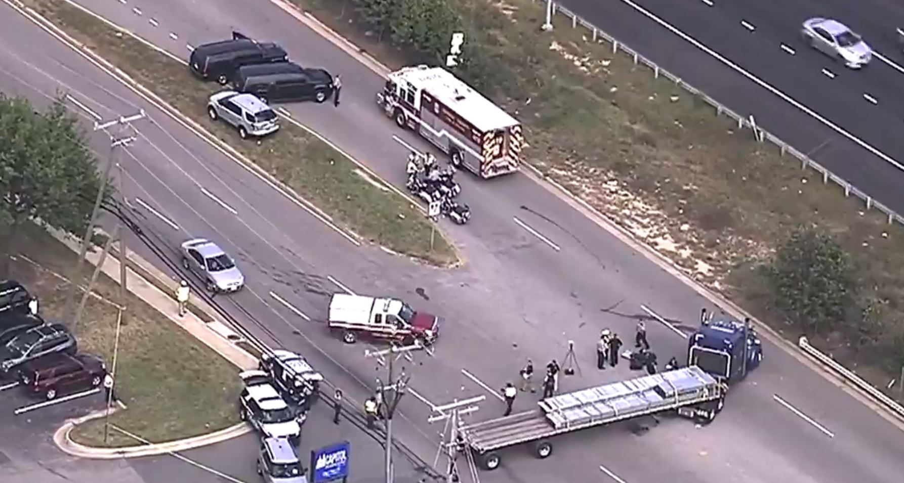 A person is dead after a motorcycle and a tractor trailer collided in Fairfax County Tuesday afternoon, according to authorities. (SkyTrak7)