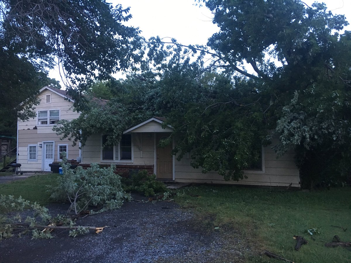 Overnight storms knocked a tree into a house in Pryor (KTUL).