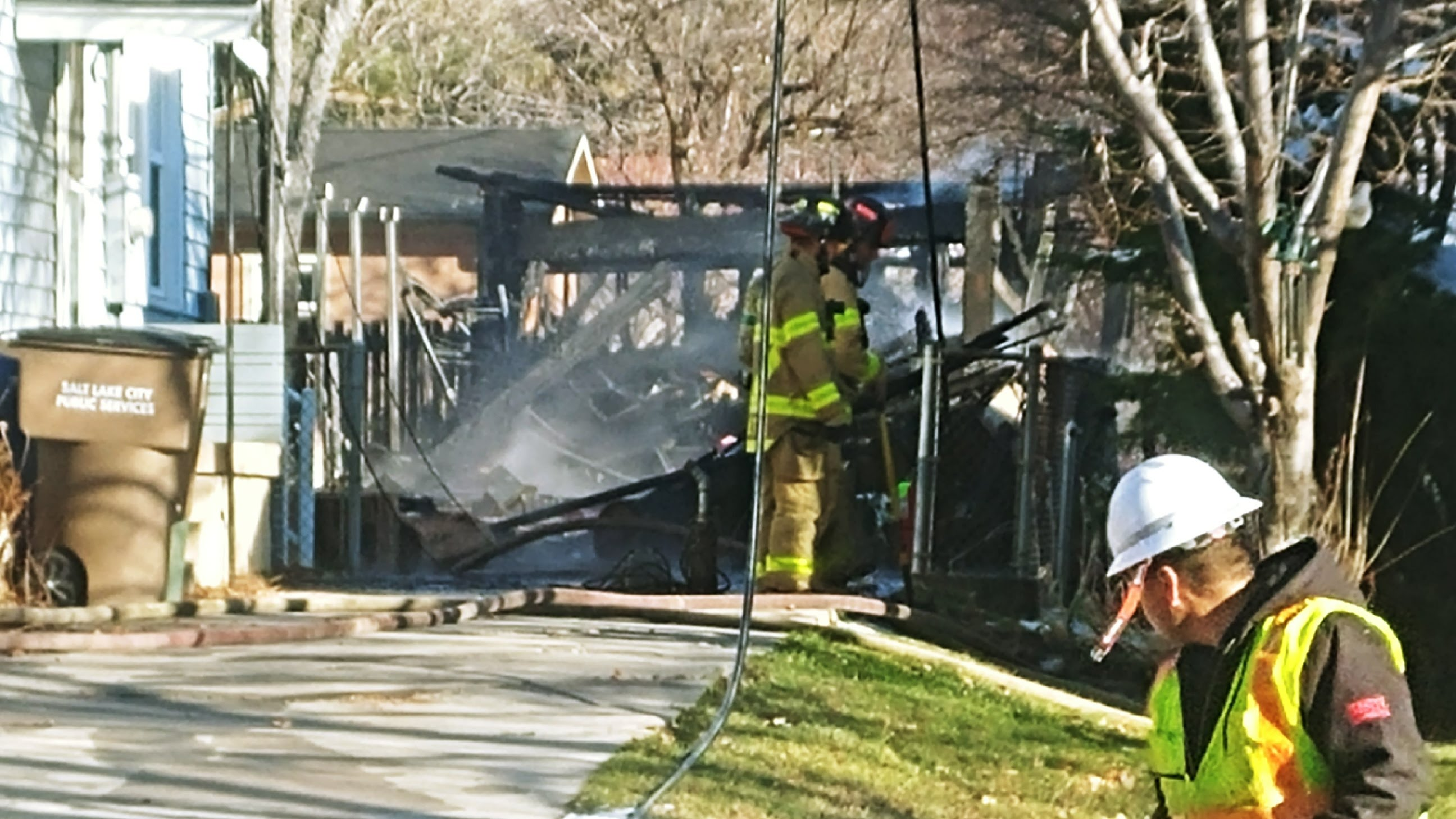 Salt Lake Fire Department extinguishes a garage fire at a Salt Lake City residence. (Photo: Brian Morris / KUTV)<p></p>