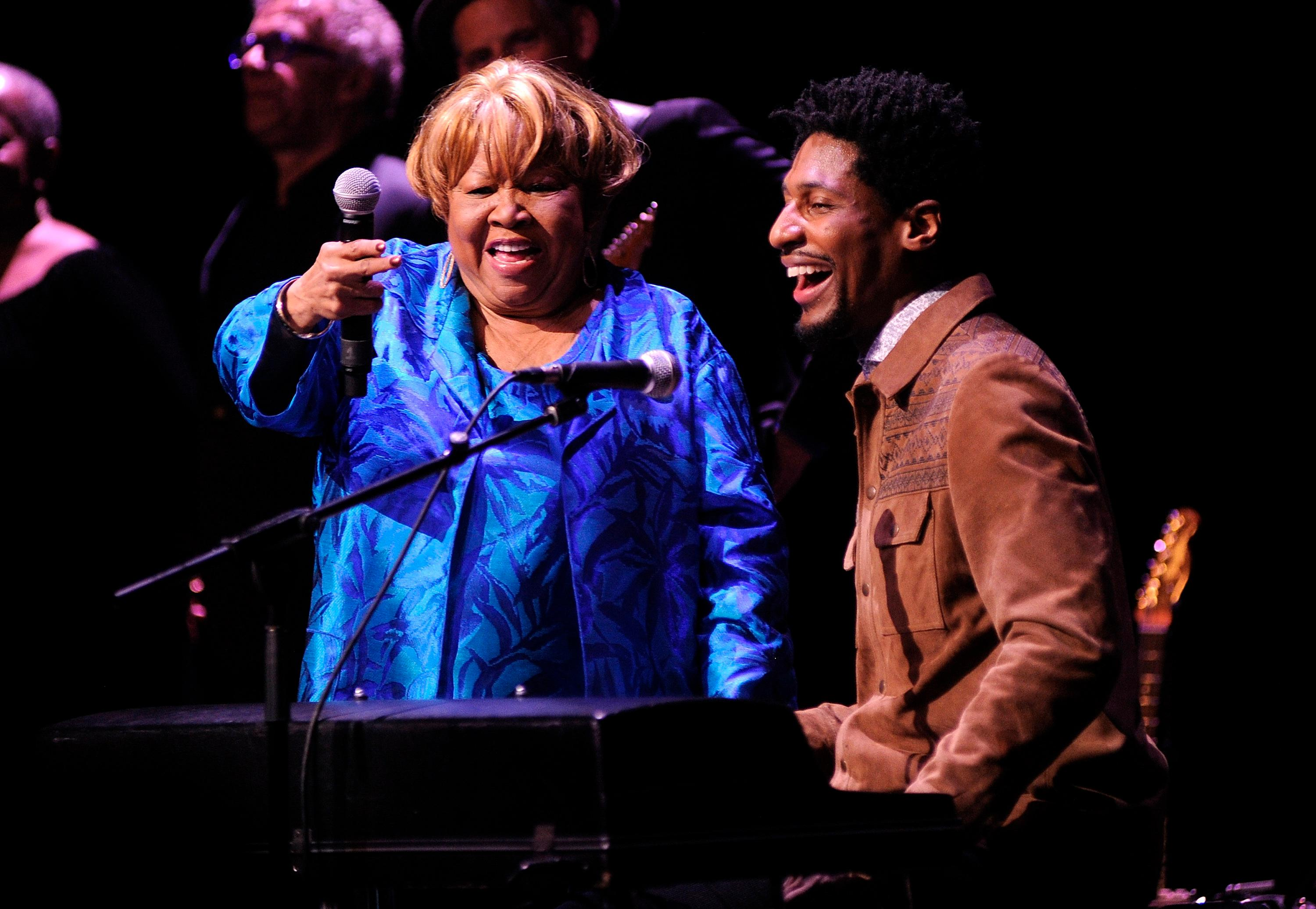 "Singer Mavis Staples, left, and Jon Batiste perform at the Apollo Theater to celebrate the release of her new album ""We Get By,"" on Thursday, May 9, 2019, in New York. (Photo by Brad Barket/Invision/AP)"