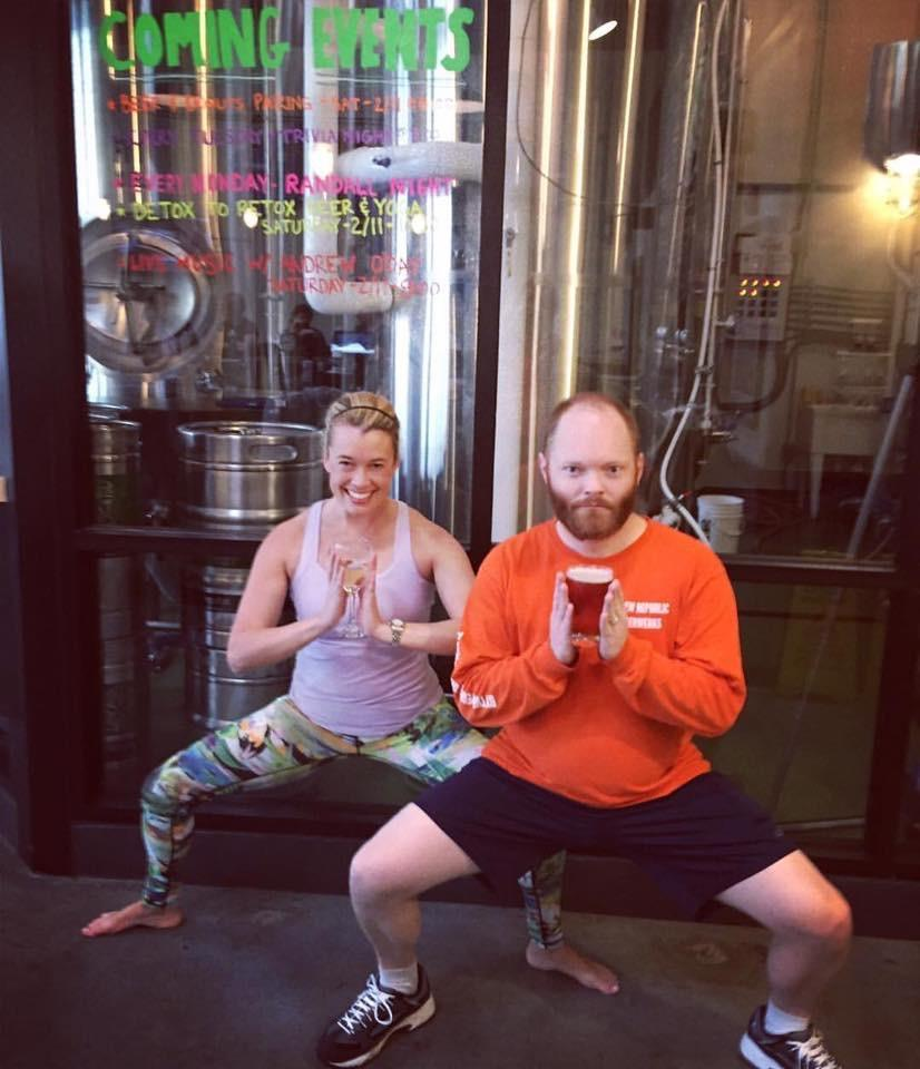 This Woodbridge brewery offers a monthly 60-minute Detox to Retox vinyasa flow class with WheelHouse Mind Body Studio founders Kelly and Allyson that's suitable for both beginners and advanced students. (Image: Courtesy Brew Republic Bierwerks)<p></p>
