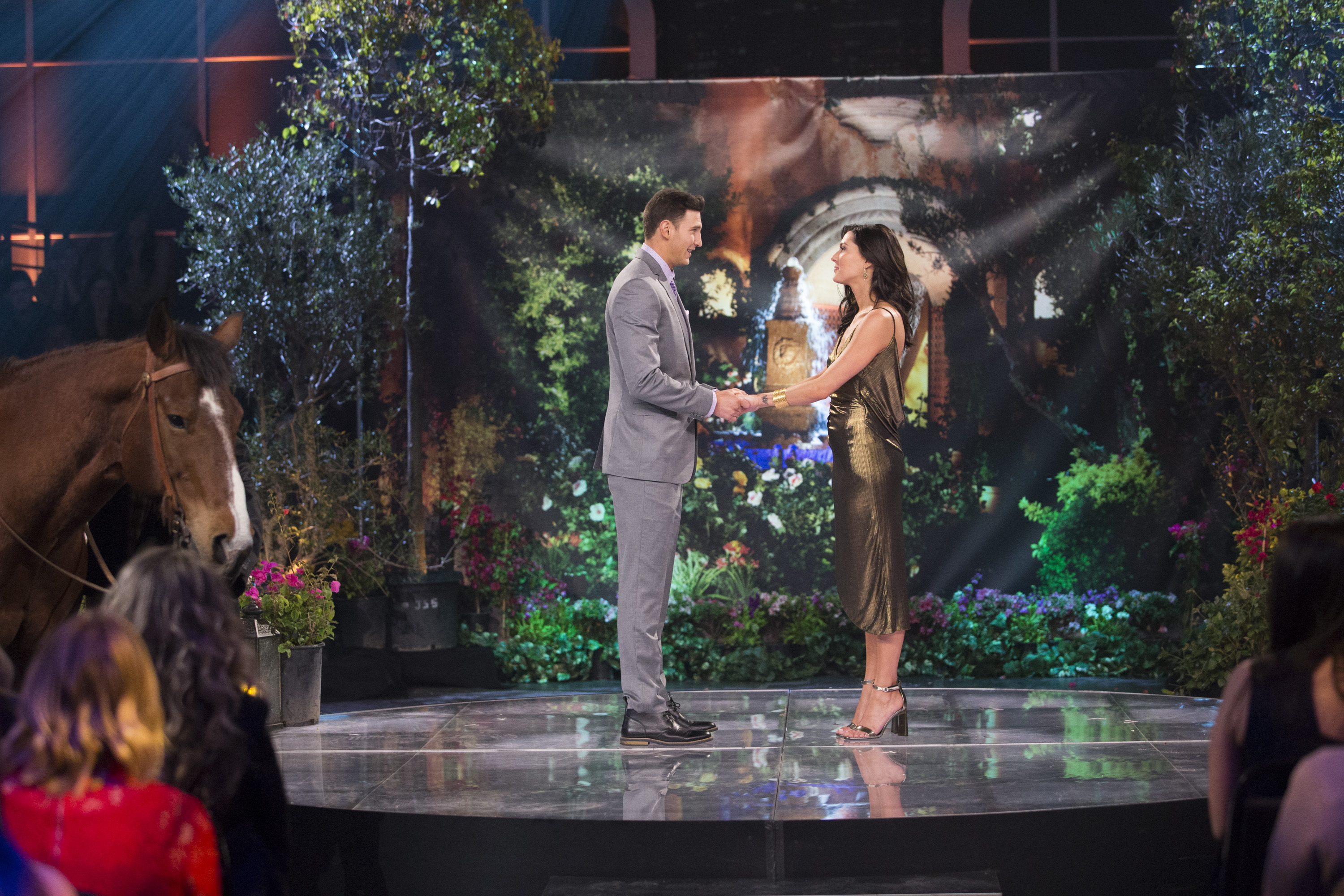"""As the saying goes, when you fall off the horse, you have to get back up again,"" the fifth contestant Blake said. ""I brought you that horse, and I want to be the man who helps you get back up again."" Ok, normally we would totally be rolling our eyes at such a scripted pick-up line/entrance, but we're also romantics at heart and just want Becca to find the happy ending she deserves! (Image: ABC/Paul Hebert)"
